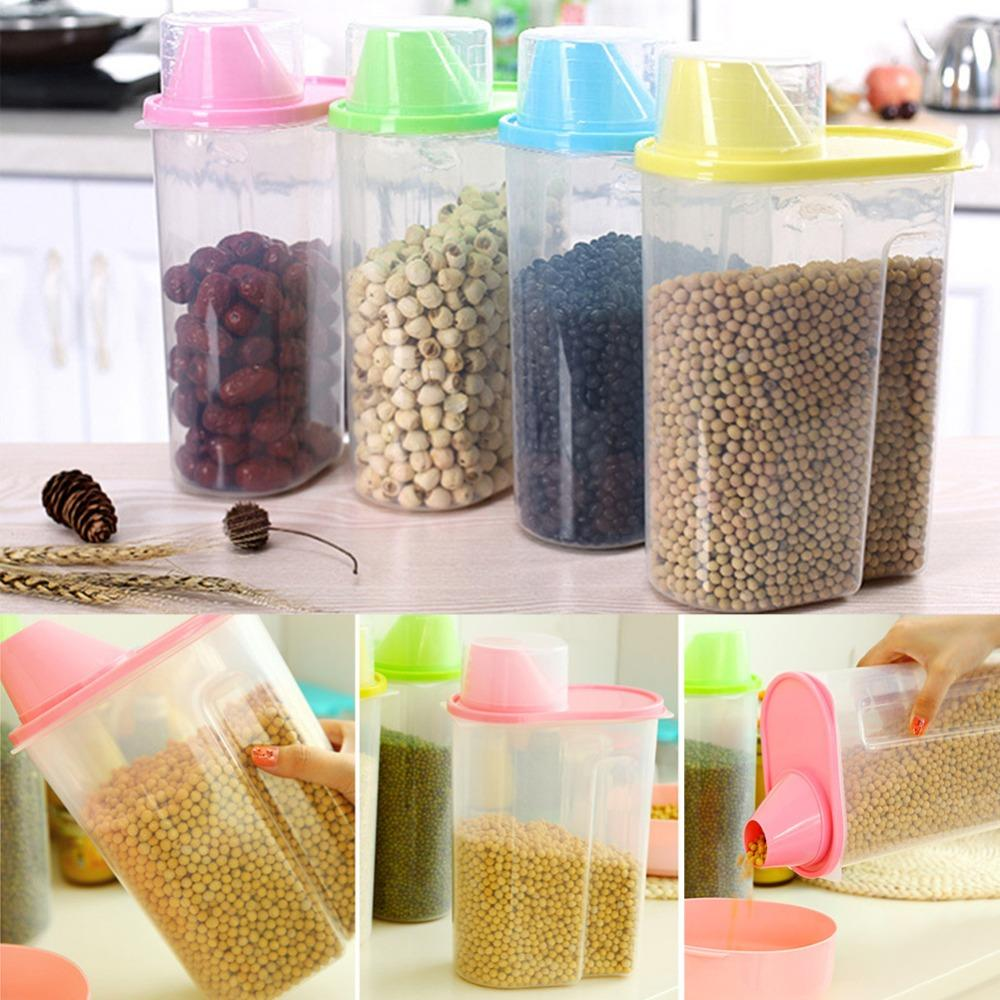 2018 Dried Cereal Flour Pasta Storage Dispenser Rice Container Sealed Box  2.5l From Merlle, $30.07 | Dhgate.Com