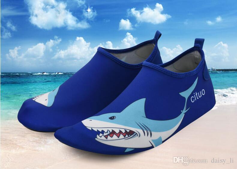 Акула печати быстросохнущие воды обувь легкий анти-скольжения плавание Аква носки Mutifunctional босиком для пляж бассейн серфинга йога