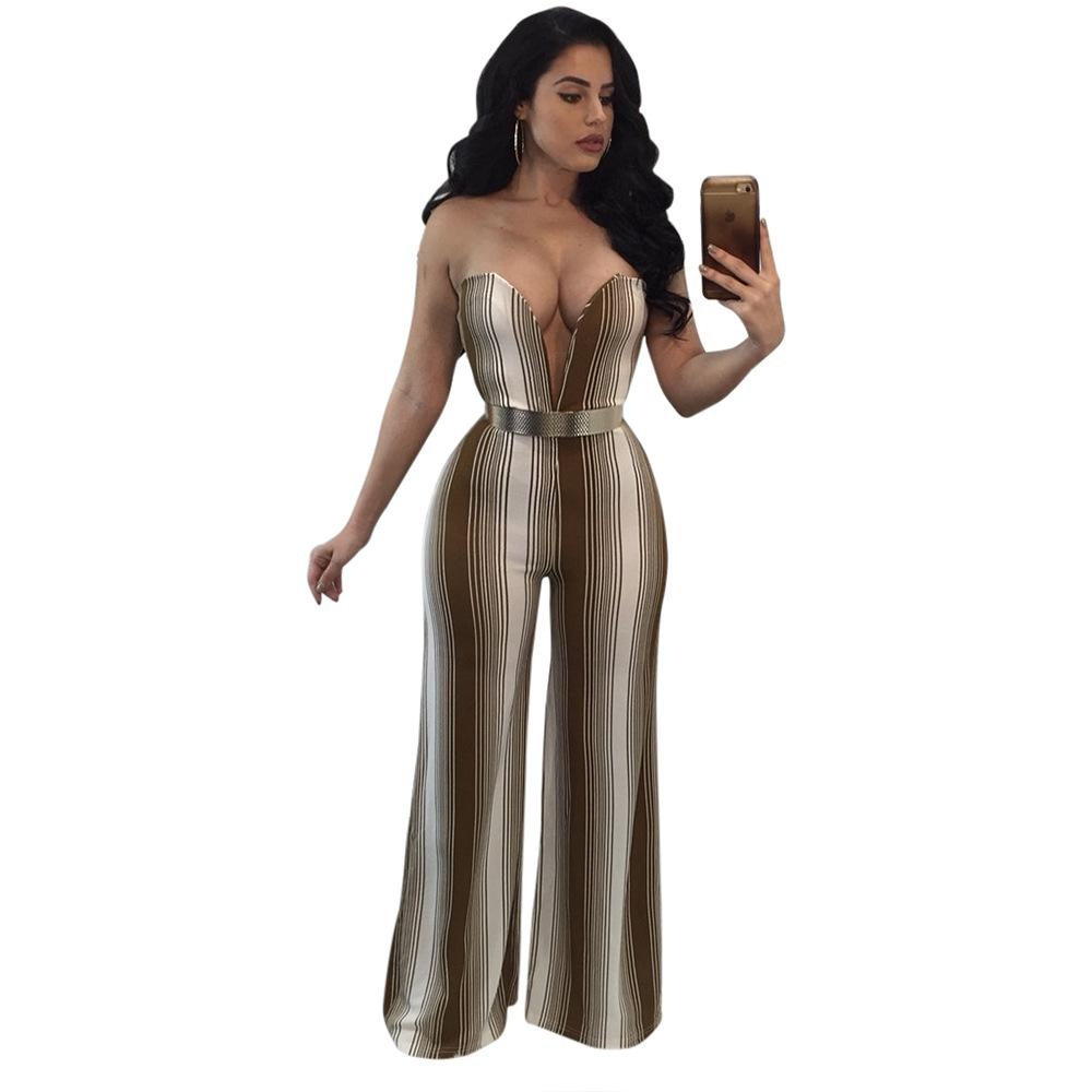 2019 Multicolor Strapless Deep V Neck Jumpsuits Women Autumn Real EleStripe  Long Playsuits Ladies Hollow Out Rompers Night Club From Alfreld 44f6a9e47