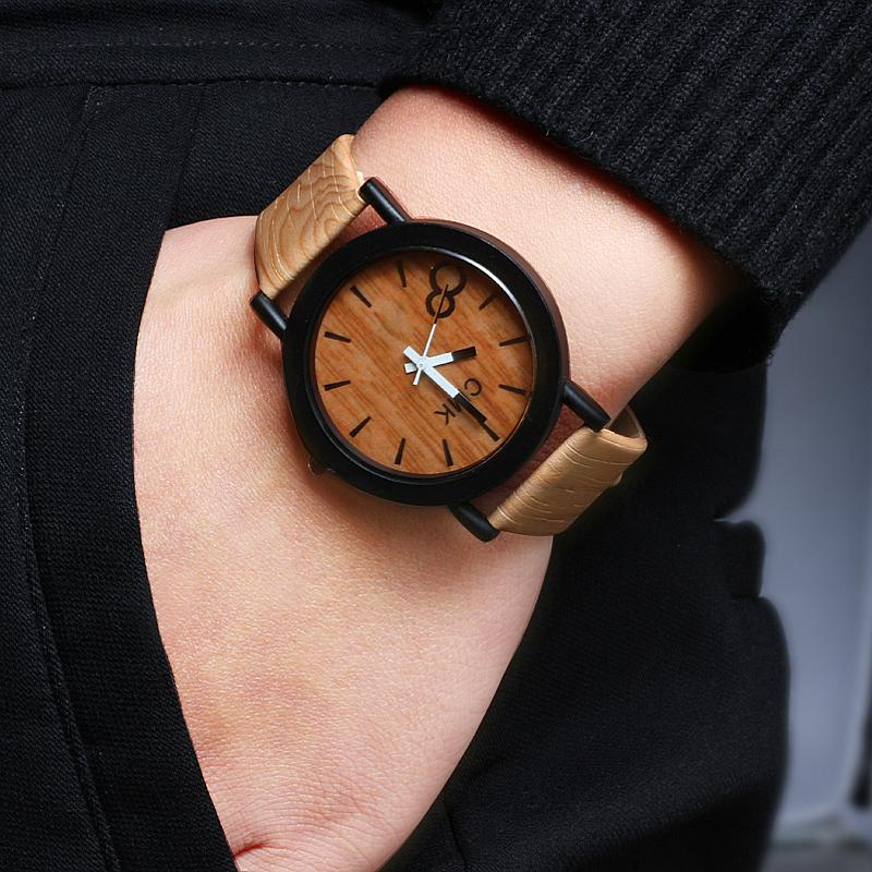 Reloj De Cuarzo La Vendimia Madera Imitación Los Pulsera Relojes Hombres Cuero Creativo Para Cmk 3Aj5L4Rq