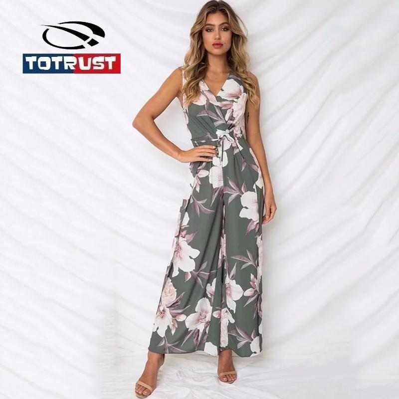 06f0615db15 2019 TOTRUST Elegent Floral Print Chiffon Jumpsuits For Women 2018 Summer  Slit Wide Leg Jumpsuit Floral Romper Sexy V Neck Jumpsuits From Alberty