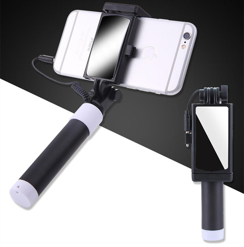 c092d38611b449 2019 Universal Selfie Stick With Mirror For IPhone 5 5S SE 5C 6 6S Plus  Monopod Wired Mini Sport Selfie Stick For IOS Androic Perche Selfi Stick  From ...