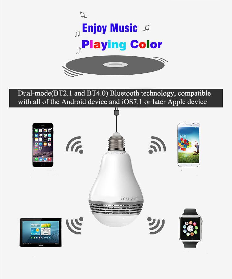 Bluetooth-drahtloser Sprecher-intelligente geführte Birnen-APP-Kontrollfarbe E27 5W Lampe LED-Licht mit dem Minisprecher neuestes