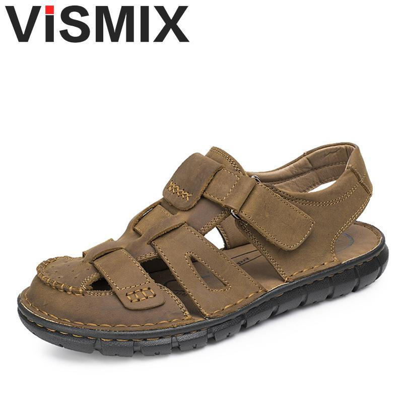 f885930d28b9 VISMIX Comfortable Handmade Men Sandals Genuine Leather Soft Summer Male  Shoes Retro Sewing Casual Beach Footwear Shoes For Men Pumps Shoes Shoe  Sale From ...