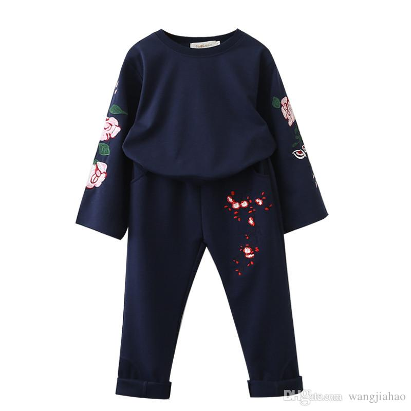 22d2742e7 Cheap Bear Leader Girls Clothing Sets 2018 New Brand Autumn Sets Kids Clothing  Flowers Embroidered Sweatshirts+Pants For 3-7 Years