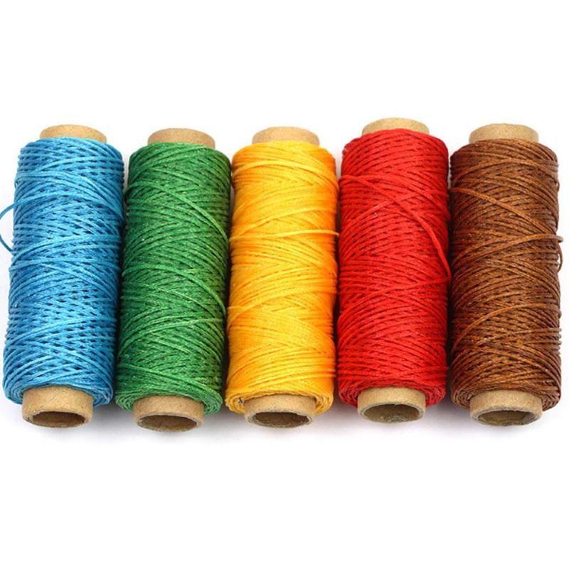 71d81c07a3f3 50m 1mm Hilo Encerado Cuerda de Algodón Cuerda Correa Hilo de Costura A  Mano para Cuero Material de Herramienta de Artesanía Accesorios AZX0598