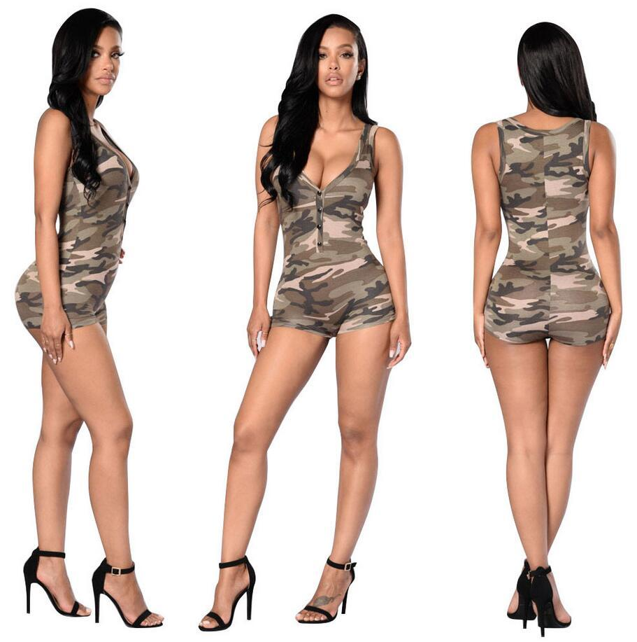 41d789ca20e9 2019 Women Jumpsuit 2018 Sexy Romper Army Camouflage Bodysuit Bodycon Deep  V Neck Short Pant Sleeveless Sport Suit Feminino Playsuits From Redfire168