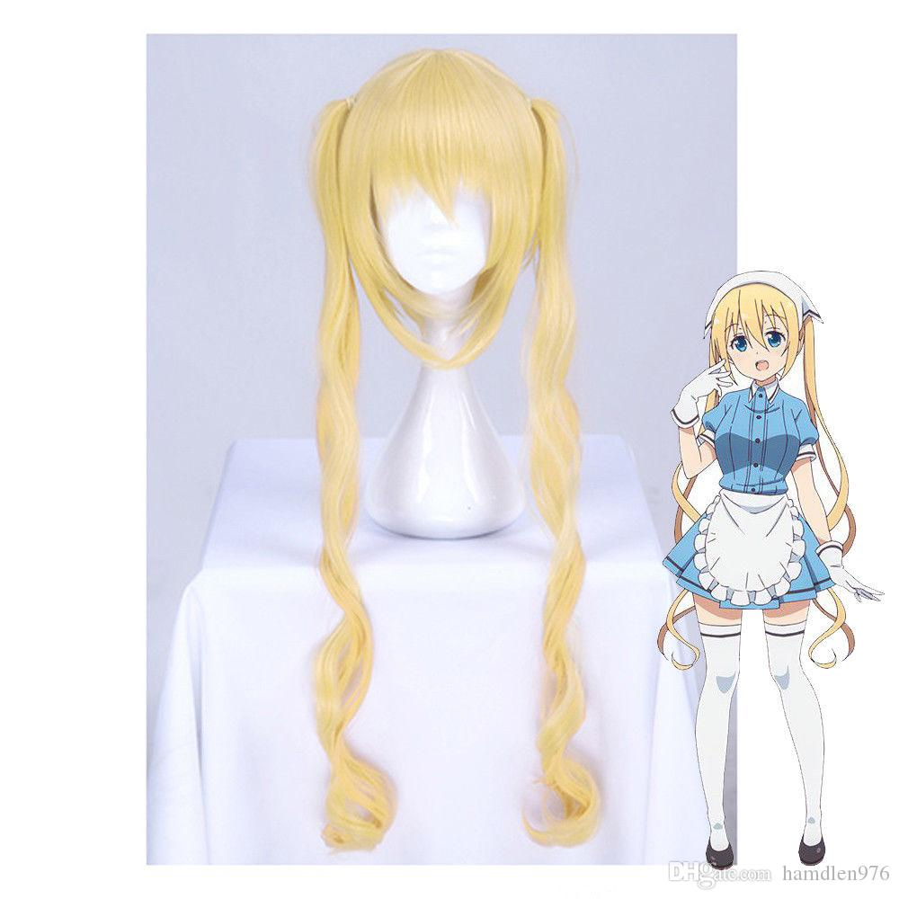 ≫≫≫Blend S Kaho Hinata Blonde Cosplay Wig Women Lolita Long Wavy Ponytails  Wigs Mesh Cap Wigs Elastic Wig Cap From Hamdlen976 f47ce98bb4a5