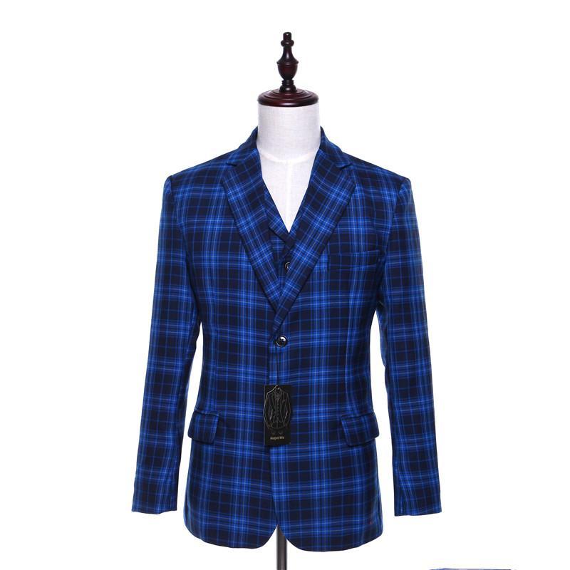 Acquista Giacca Da Uomo Casual Blazer Blu Plaid Pattern Slim Fit In Lana  Stile Inghilterra Inghilterra Business Suit Suit Size XS 4XL Custom A   181.06 Dal ... 4543be4692d
