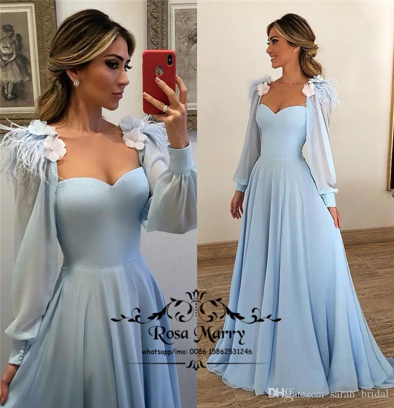 efaac29d25c Light Blue Plus Size Long Prom Dresses 2019 A Line Long Sleeves 3D Floral  Feather Cheap Chiffon Arabic African Formal Evening Party Gowns Prom Dresses  ...