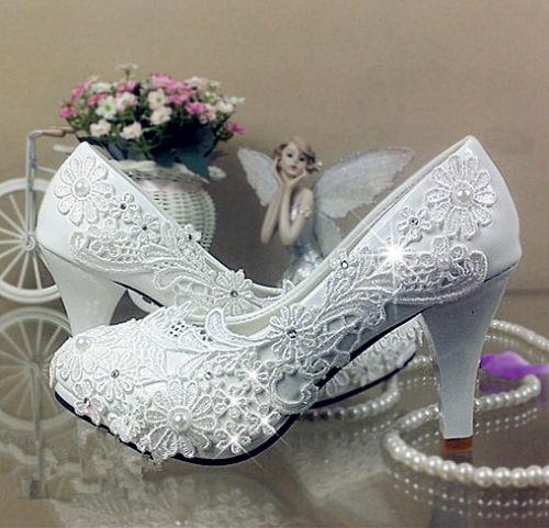 8e44879e1a84c7 Fashion Lace White Ivory Crystal Wedding Shoes Bridal Flats Low High Heel  Pump Size High Heel Shoes Mens Casual Shoes From Lixia2018