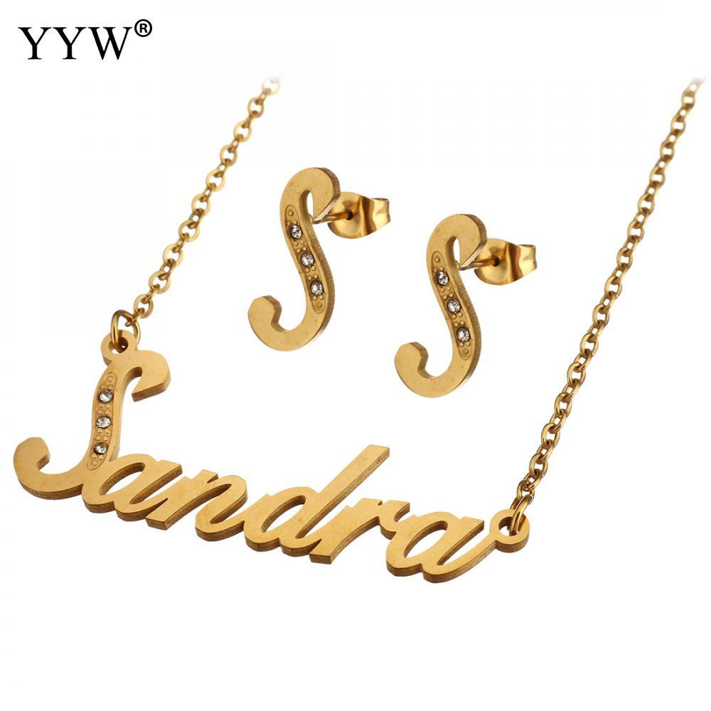 5560641e7d3a9c 2019 Stud Earrings Gold Color Personalized Custom Name Pendant Necklace  Handmade Birthday Gift For Womens Stainless Steel Jewelry Set From  Rainbowwo, ...