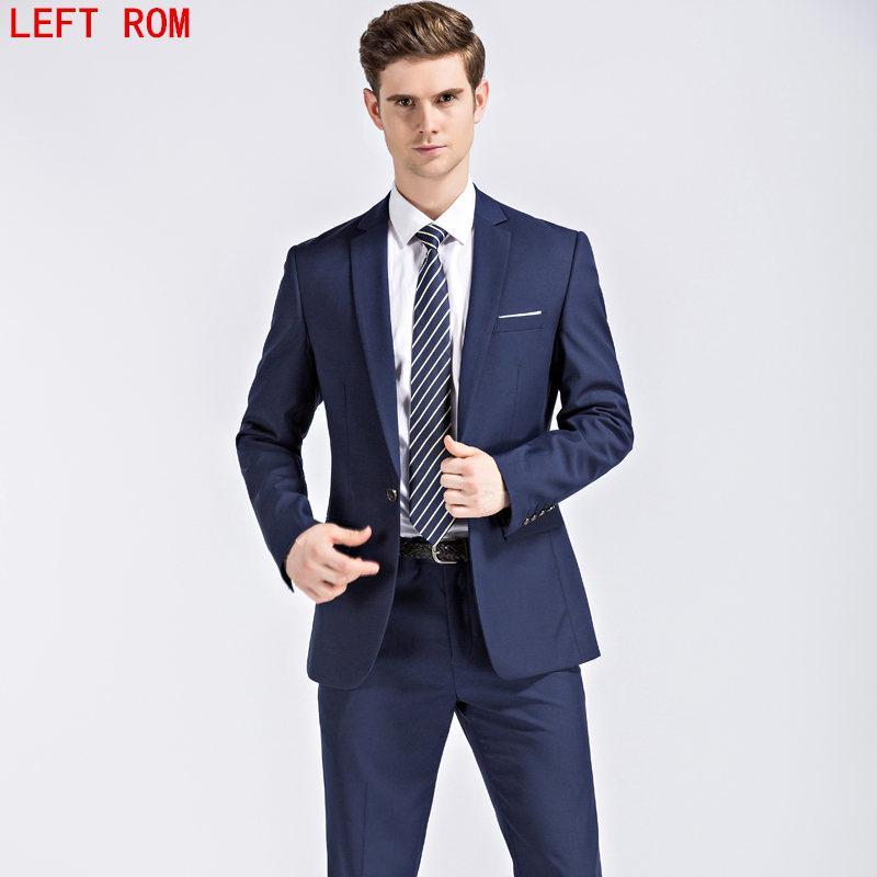 Compre Chaqueta + Pantalones Para Hombre Trajes Azul Oscuro Y Negro Con  Pantalones 2017 Nueva Boda Para Negocios Clásico Traje Ajustado Para Hombres  A ... 2d136fedb2c8