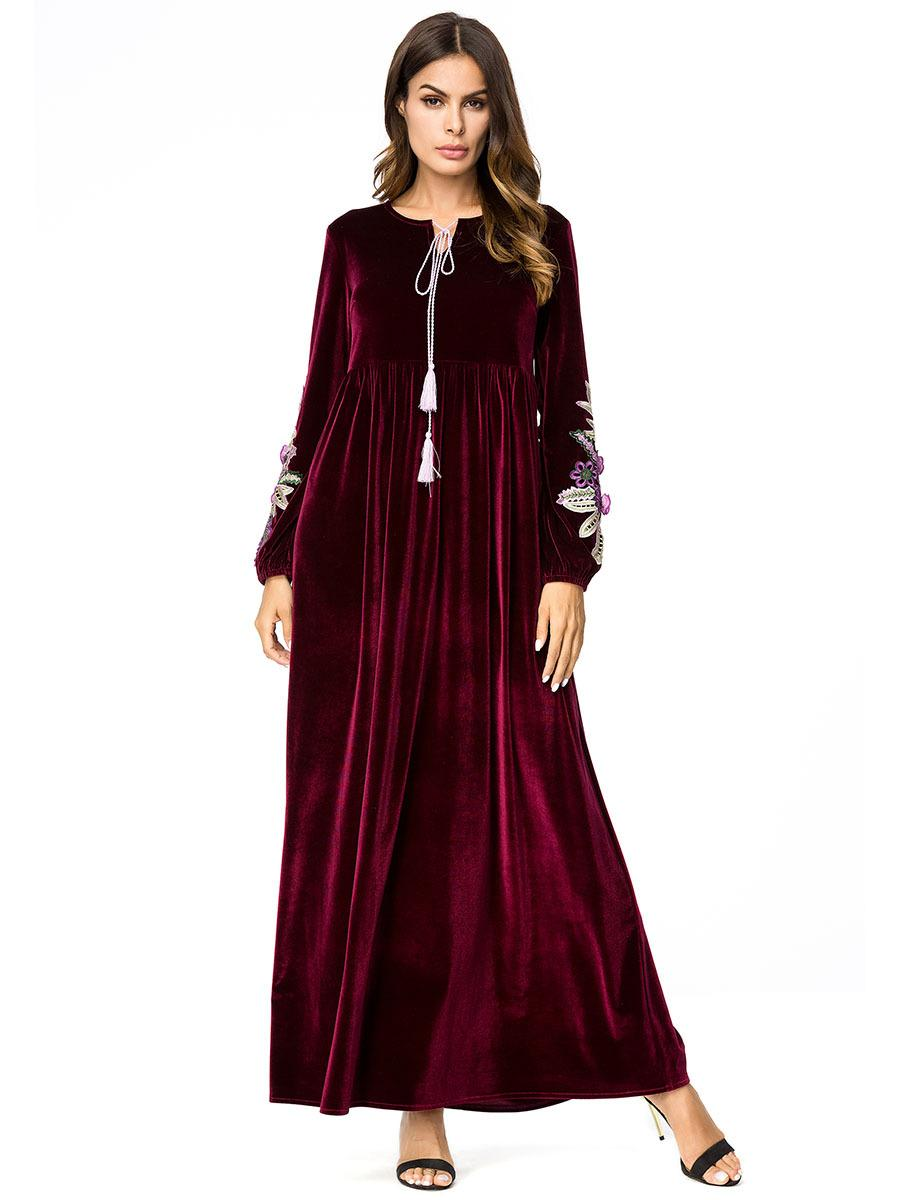5c0e943fc7e Fashion 3D Floral Embroidery Velvet Party Dress Women Burgundy Green Winter Maxi  Dress Plus Size Tassel Pleated Robe Femme Dresses S Dressing For Women From  ...