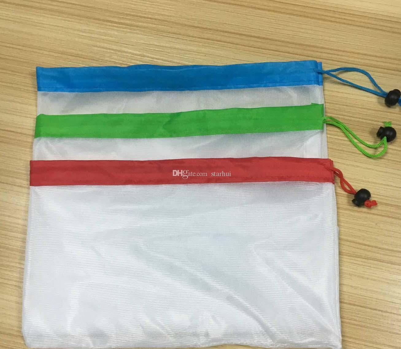 Resable Mesh Vegetable Fruit Bag For Washing Shopping Grocery Shopping Rope String Shoulder Bag Hand Totes Home Storage Pouch Bags WX9-562