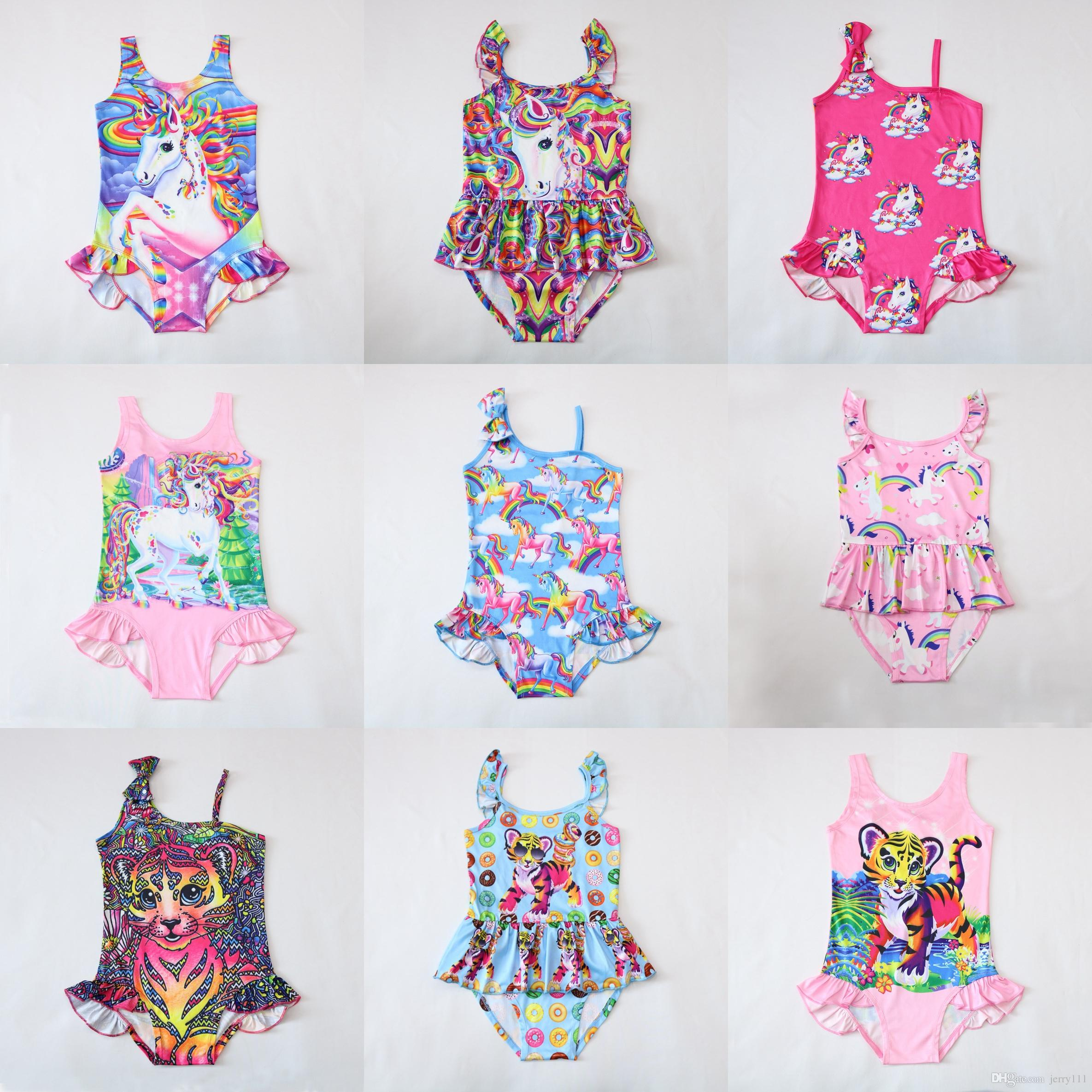 a67253f55b 2019 INS Unicorn Swimwear One Piece Tiger Swimsuit Bikini Big Kids Summer  Cartoon Infant Swim Bathing Suits Beachwear 12 Design LC738 1 From  Jerry111