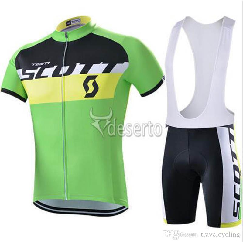 Men Scott Short Sleeves Cycling Jersey Set MTB bike clothing Bicycle Clothes Summer Outdoor Sportswear bib shorts Gel pad 82018Y