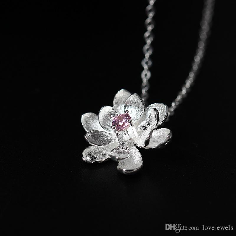 Wholesale fashion charm 18k gold plated s925 pure silver fresh wholesale fashion charm 18k gold plated s925 pure silver fresh natural zircon lotus flower necklace collarbone chain jewelry wholesale pink gold cute mightylinksfo