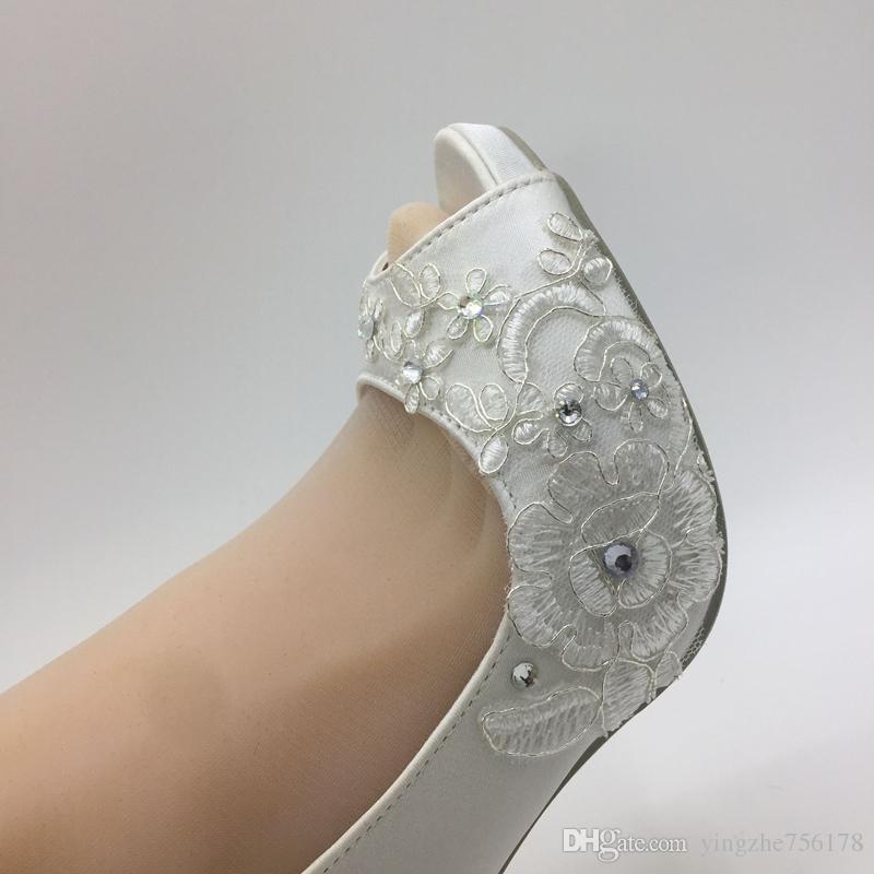 Handmade Ivory Satin Shoes Wedding Lace High heels Dinner party dress accessories Peep Toe Bride Bridesmaid size EU 35-42