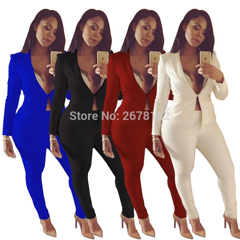 4f566eb6ee1 2019 Two Piece Pant Suits 2018 Spring Summer Long Sleeve Casual Sexy ...