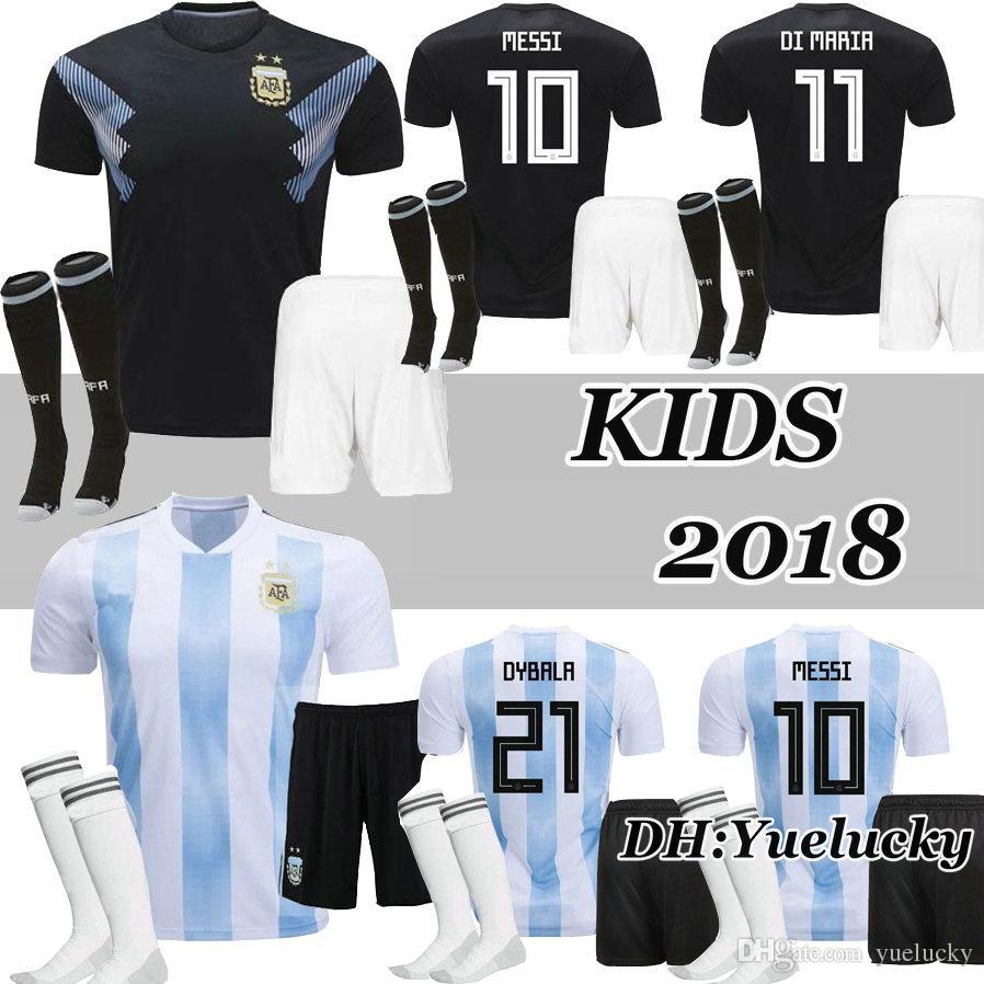 Compre 2018 Copa Del Mundo Argentina Niños Kits De Fútbol Jerseys Di Maria  Messi Aguero Dybala Higuain Icardi Camisetas Niños Camiseta De Fútbol  Uniformes A ... b5d8cc9ea27b3