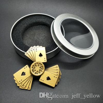 Vintage playing cards Straight flush Fingertip gyro metal Three leaves alloy Finger toys adult child Unzipping toys