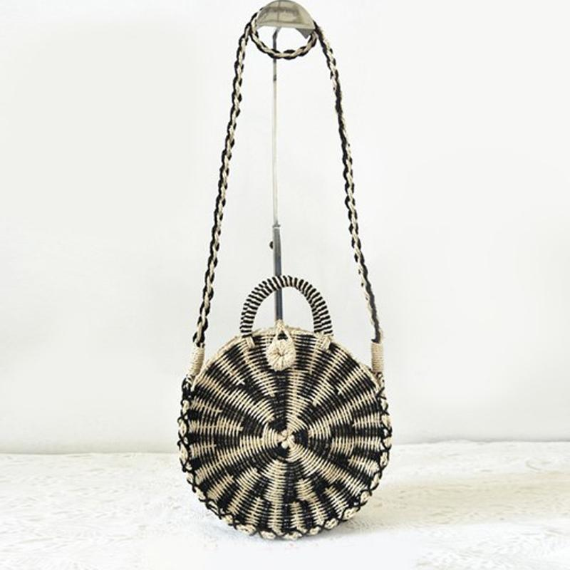 436f84f9d0 Chic Handmade Rattan Woven Round Handbag Vintage Retro Straw Knitted Messenger  Bag Lady Handbag Summer Beach Tote Circle Bag J211 Cheap Handbags Cheap ...