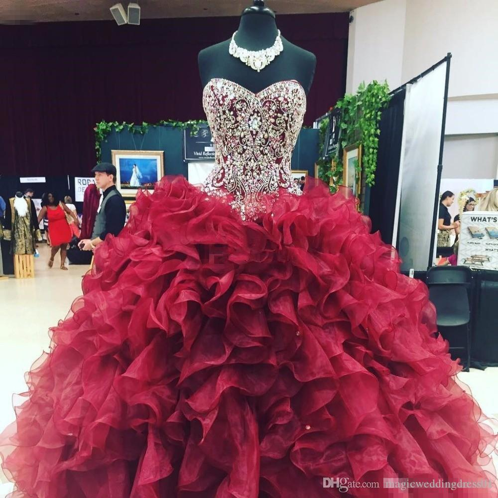f593f4a4f3c Crystal Beaded Sweetheart Bodice Corset Organza Ruffles Ball Gowns  Quinceanera Dresses 2018 Burgundy Vestidos De 15 Anos Sweet 16 Prom Gowns  Quinceanera Mom ...