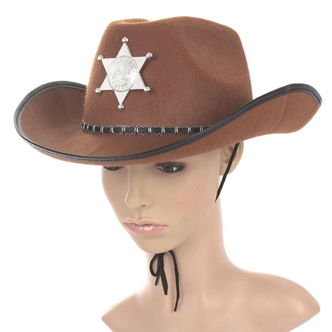 ad57adc0ba846 Cowboy Western Wild West Sheriff Hat Fancy Dress Halloween Party Costume  Brown Black Hats Scala Hats From Spectalin