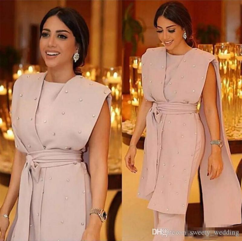 ceb185683ee3 Formal Pink Evening Dresses Sleeveless Cape Beaded Sashes Jumpsuit Pearls  Beaded 2018 Modern Arabic Dubai Formal Suit Party Prom Gowns Evening Dresses  ...