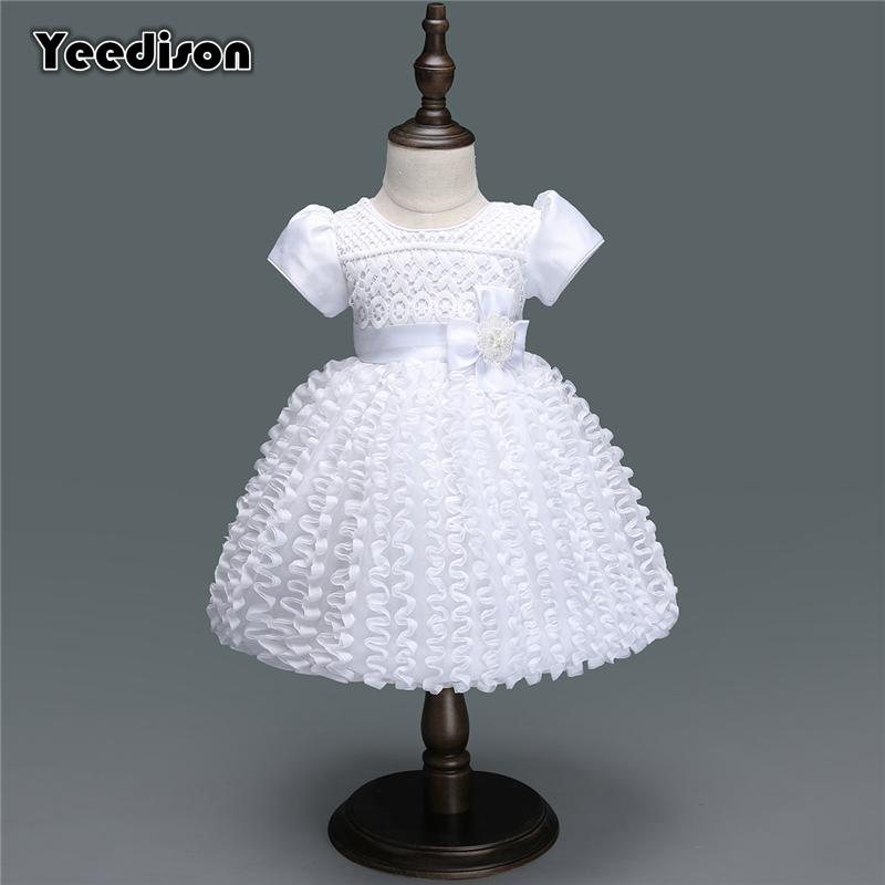 2018 White Baby Dresses Girl Newborn 1st Year Birthday Infant Outfit ...