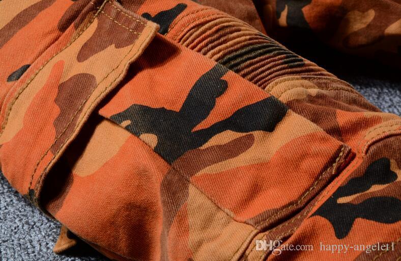2018 Yeni Moda Yüksek Sokak erkek Kot En Kaliteli Turuncu Kamuflaj Büyük Cep Kargo Pantolon Marka Biker Jeans Erkekler Amry Pantolon