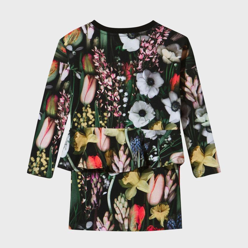 Vestiti delle ragazze della molla Vestiti botanici del ginocchio del modello delle ragazze del O-collo delle ragazze dei vestiti lunghi del vestito da cerimonia nuziale del fiore