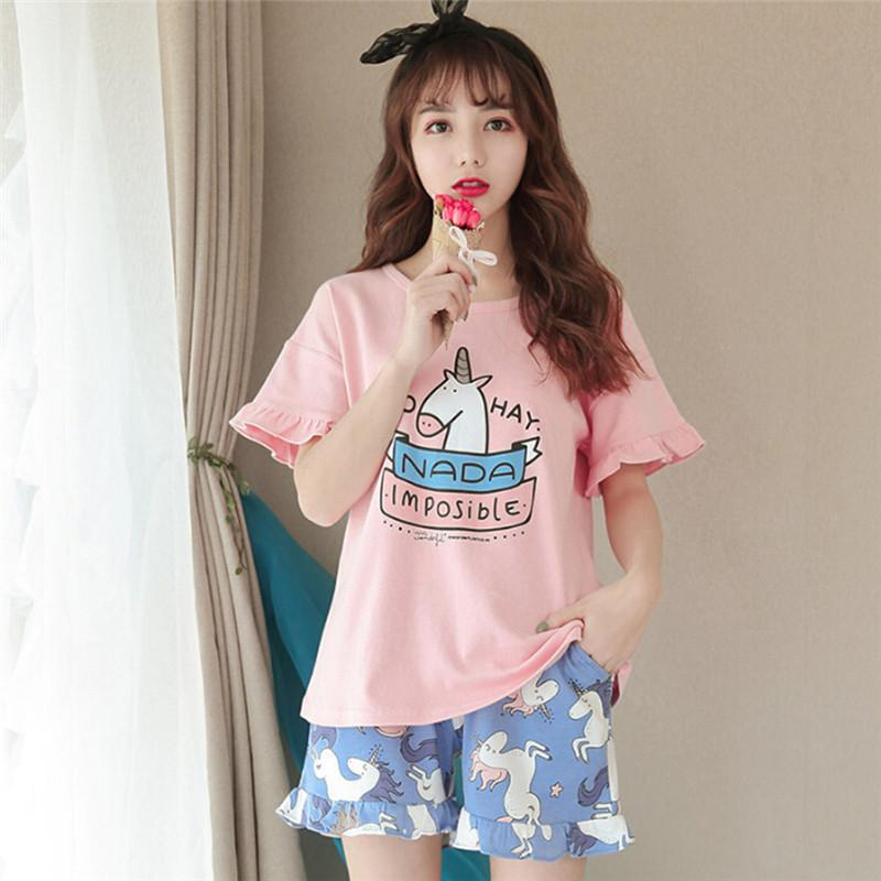 Unicorn Print Pajamas Summer Girls Ruffles Short Sleeve Elastic Waist  Cotton Lounge Sleep Pyjamas For Women Girls UK 2019 From Cagney 5a5ecca18