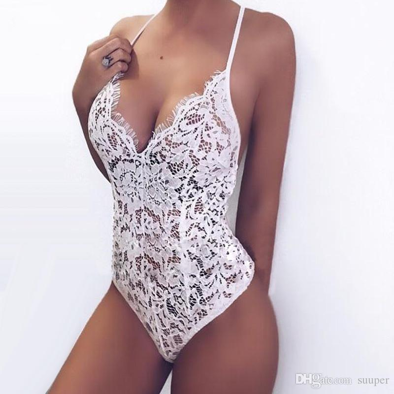 81cf08c125d 2019 Sexy Spaghetti Strap White Lace Jumpsuit Women 2018 Sleeveless V Neck  Hollow Out Bodysuit Club Party See Through Rompers From Suuper