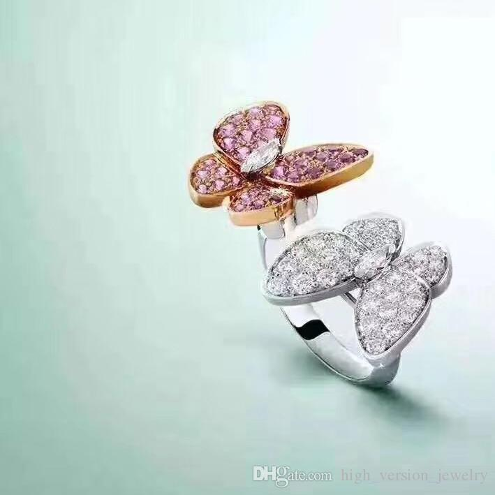 2018 High Version Two Butterfly Ring France Open V Ring Diamond ...