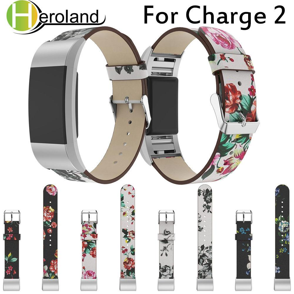 Luxury Leather Band For Fitbit Charge 2 Printing Leather Strap Replacement  Watch Band For Fitbit Charge 2 Wristband Belt Painted