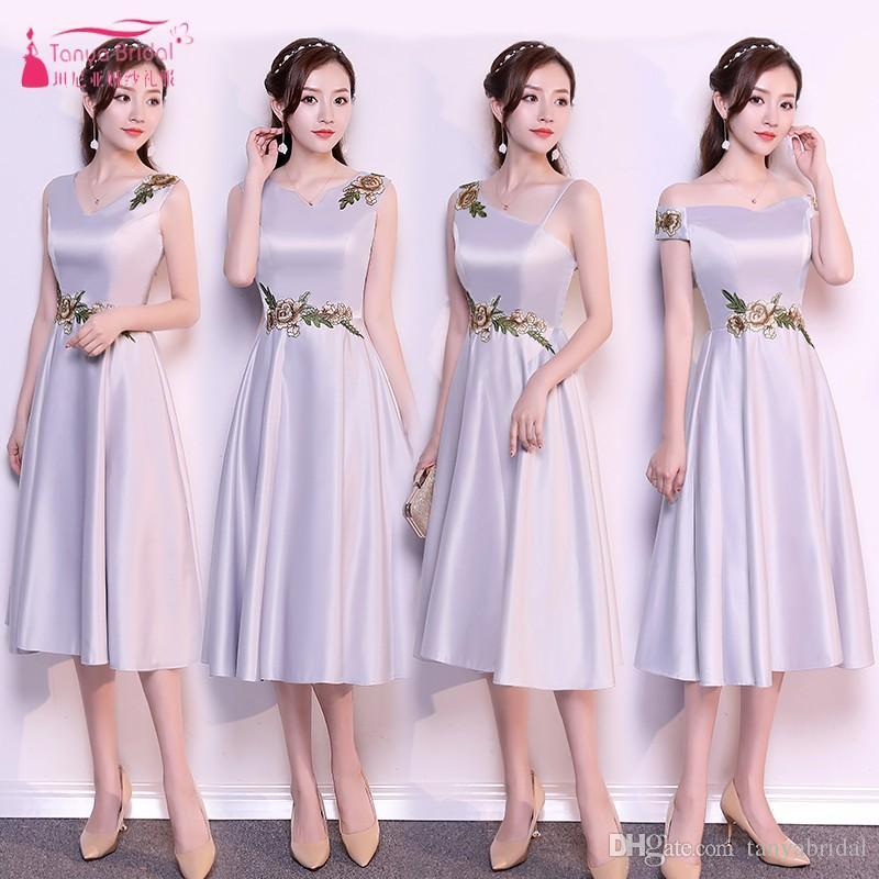 Silver Tea Length Bridesmaid Dresses 4 Styles Satin Wedding Guest