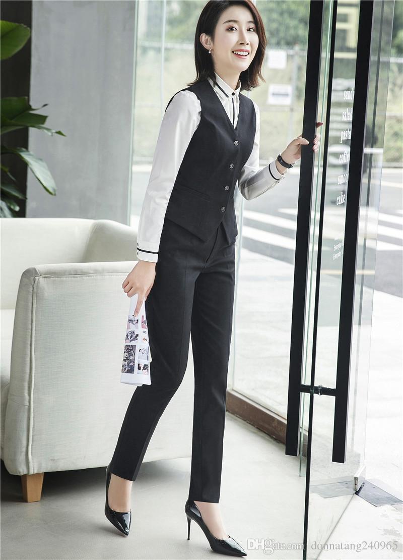 Summer Formal Ladies Black Gray Vest Women Waistcoat Slim Elegant Work Wear Clothes Fashion Office Uniform Styles