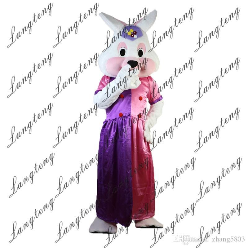 2018 Новый высокое качество кролик принцесса талисман костюмы для взрослых цирк Рождество Хэллоуин наряд необычные платья костюм бесплатно Shipping023