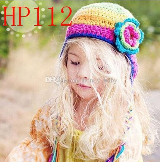 Crochet Princess Rainbow Flower Knitted Cap Newborn Infant Toddler Baby  Girls Headwear Christmas Hat Children Kids Floral Beanie 100% Cotton Baby  Hat ... 8a0e18f7e7fd