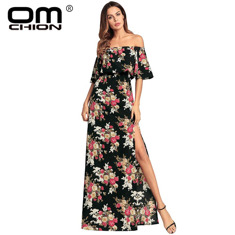 caf36fb3b OMCHION Boho 2018 Nuevo Slash Neck Bohemian Summer Dress Mujer Ruffles  Media Manga Split Floral Impreso Sexy Maxi Vestidos LQ124