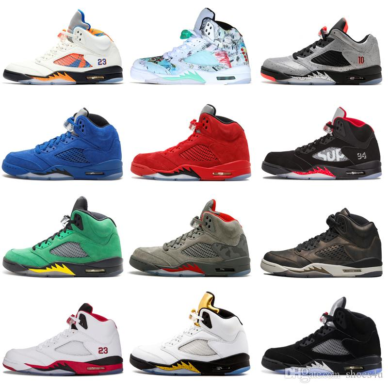 e59f2b7c97ef High Quality 5 5s Wings International Flight Mens Basketball Shoes OG  Metallic Black Low China Silver White SUP Sneakers Designer Trainers  Jordans Sneakers ...