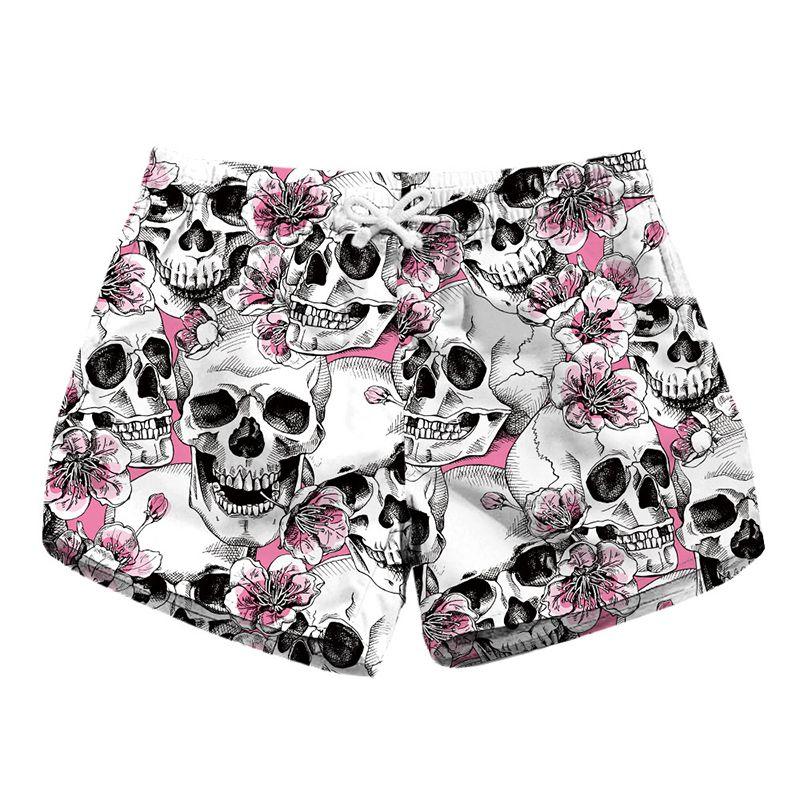72295e55f9 2019 Women Short Beach Shorts Skull Pink Flower 3D Full Print Girl Swimming  Shorts Lady Digital Graphic Beach Pants Boardshort RLLbp 6022 From  Joybeauty, ...