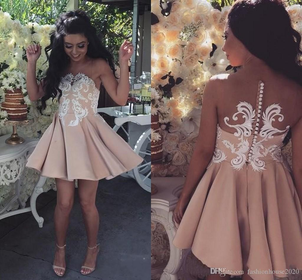 Weddings & Events Taohill Lace Cocktail Dress 2019 Applique Pink Short Prom Dress Party Cocktail Dresses Cap Sleeves Vestidos De Coctel Robe