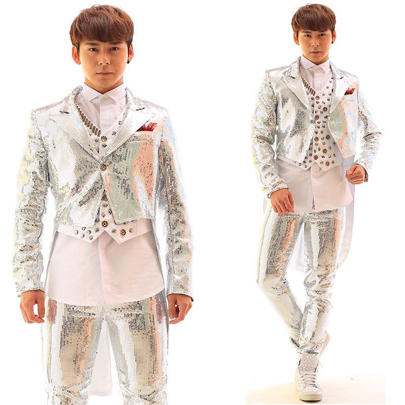 Блестками смокинг куртка жилет брюки мужской пиджак Пиджак верхняя одежда танцор певица платье производительность шоу ночной клуб тонкий звездный костюм