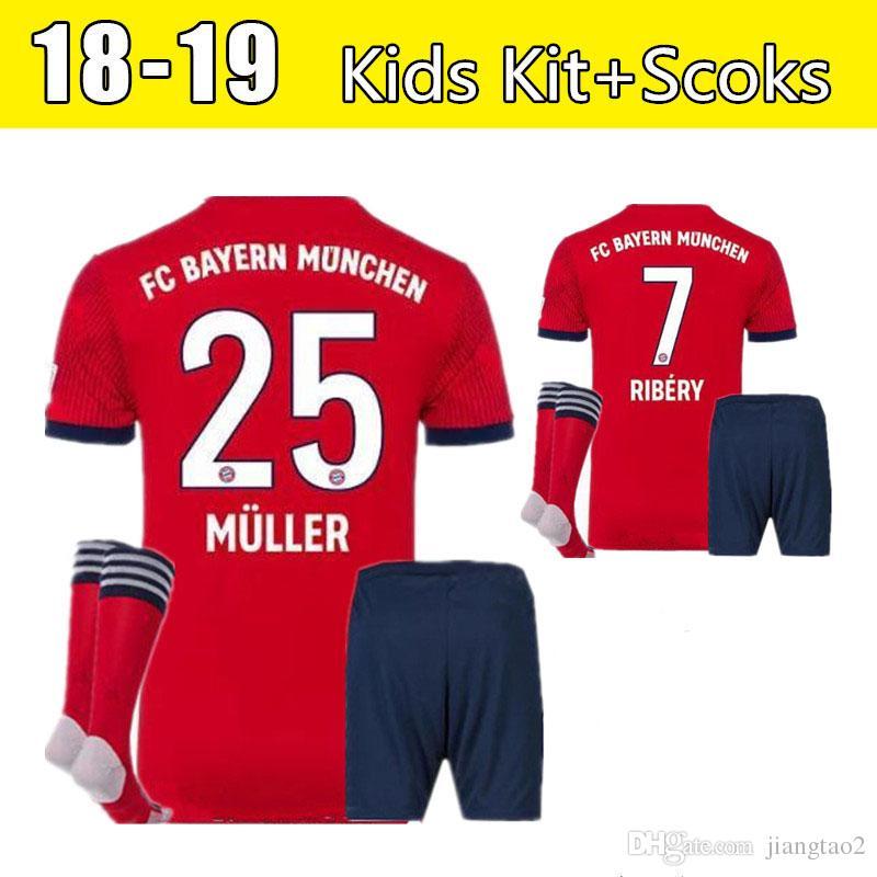 55abbc8a850 18 19 Bayern Munich Soccer Jersey Kids Kit+Socks 25 MULLER 10 ROBBEN ...