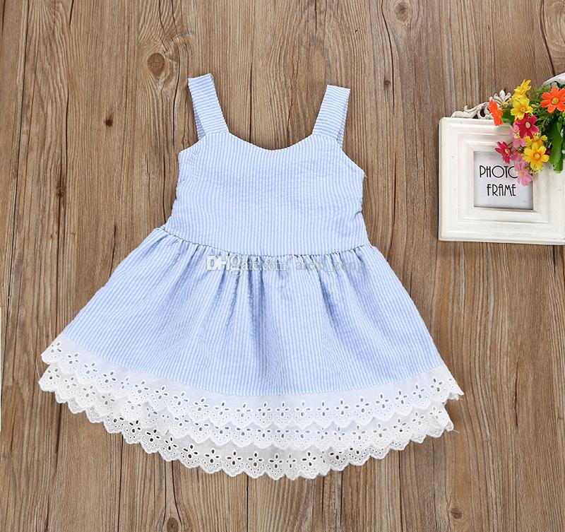 Baby Girl Summer Dress Girls Striped Backless Bowknot Princess Dress Kids designer Fashion Lace Flower Cotton Frocks Clothing