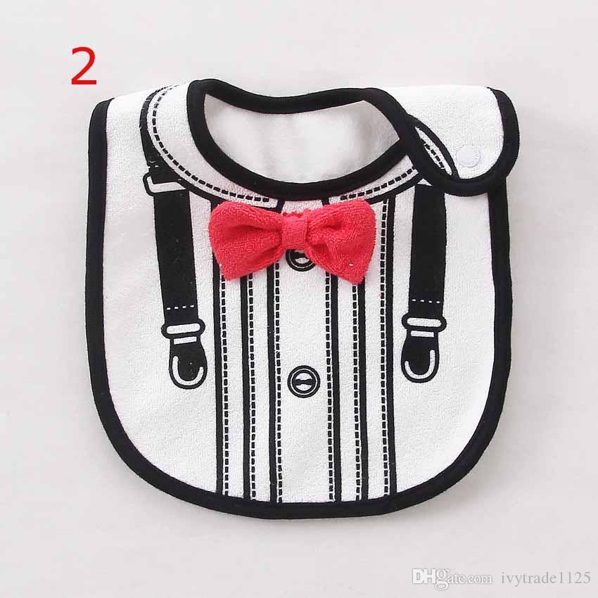 7 styles bavoirs style gentleman avec pince à rotin ENFANTS 100% coton trois couches plaid noeud imprimé garçon bébé bavoir avec attache rapide YKK