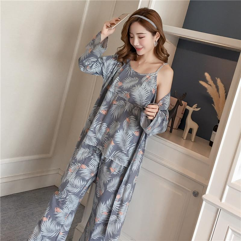 36e2d204b1b 2019 Cotton Robes Sets For Women 2018 New Autumn Winter Fashion Long Sleeve  Pajama Femme Flower Print Bathrobe Homewear Home Clothing From Philipppe